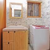 お気に入りの無垢の木の洗面台
